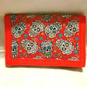 NWT! Red Sugar Skull Tri-Fold Wallet